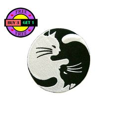 PRODUCT DETAILS:  Yin Yang White and Black Cat Embroidered Iron On Patch Heat Seal Applique Sew On Patches  Size 3.1 inches x 3.1 inches (approx.)  **Iron-On Instructions**  1. Spray water on back of patch 2. Place patch on garment 3. Set iron temperature on cotton 4. Cover patch with a piece of damp cloth 5. Iron for 10-15 seconds 6. Turn garment inside out and iron until dry  ****Buy With Confidence, We ship all packages within 1-2 days of payment by Thai Post With Tracking Number…