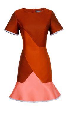 zsazsasitlist:  designer:Ostwald Helgason see details here:Ostwald Helgason Doubleface Jacquard Diagonal Flare Dress In Rust