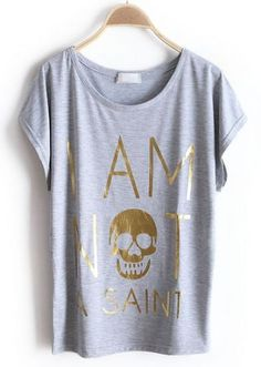 Grey Batwing Short Sleeve Letters Skull Print T-Shirt