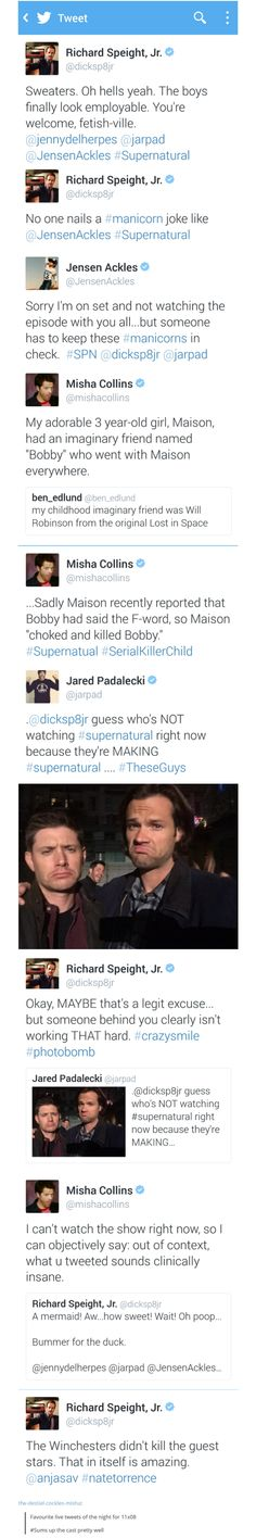 11x08 Just My Imagination - tweets from Richard Speight Jr, Jensen, Misha & Jared; Supernatural