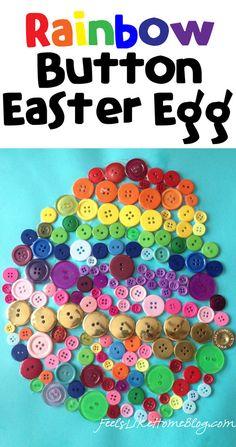 Rainbow Button Craft – An Easter Egg Craft    #Easter #EasterEggs