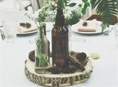 Centre de table tronc d'arbre