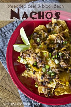 Shredded beef and black bean nachos | Yellow Bliss Road >> #WorldMarket Movie Night Giveaway Sweepstakes http://sweeps.piqora.com/worldmarket