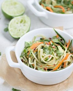 Cucumber Noodles + Spicy Sesame Soy Dressing | This Gal Cooks (sub mirin for rice vinegar + 1/2 tsp sugar)