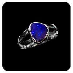 Deep blue boulder opal set in sterling silver. Ref code: 5465. Opal ring - suit ladies or gents fashion jewelry (jewellery)