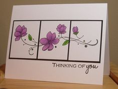 handmade card ... clean and simple design ... one panel cut into three ... sweet flower image ...