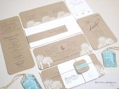 Wedding Invitation - Rustic White trees on kraft - Panoramic invitation - Natalie Collection-  SAMPLE. $11.50, via Etsy.