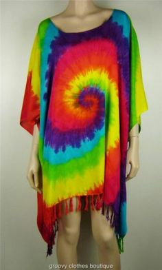 b0ecba10545 Festival Plus Size Hippie Retro Rainbow Kaftan Tunic TOP SZ 14 24 AU