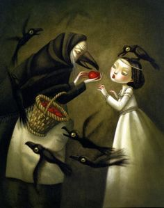 Benjamin Lacombe - Snow White and the seven dwarfs - biancaneve e i sette nani Lapin Art, Mark Ryden, Rabe, Fairytale Art, Pop Surrealism, Children's Book Illustration, Book Illustrations, Pablo Picasso, Dark Art