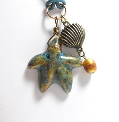 Necklace with Starfish Pendant Porcelain by TrudyAnnDesigns