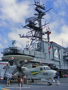 Having served for 47 years, the USS Midway, a Navy aircraft carrier, is permanently docked in downtown San Diego, California.  The ship itself is now a museum, with a flight deck display of restored aircraft.