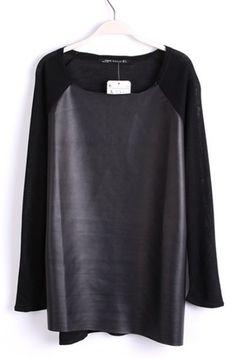 Black Long Sleeve Contrast PU Leather T-Shirt - Sheinside.com