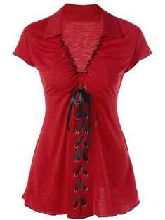 Ruffle Empire Waist Lace Up T-Shirt, RED, L in Tees & T-Shirts | DressLily.com