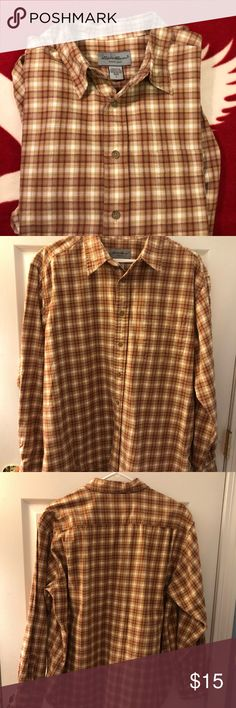 beee9f090 Eddie Bauer Flannel Button Up Size: L Eddie Bauer Flannel shirt Orange, red,  white Size: L Nice and warm for winter Check pics for measurements.