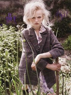tweed, jacket, hairstyle, messy, gardening, outdoors, floral, fashion, summer, spring style