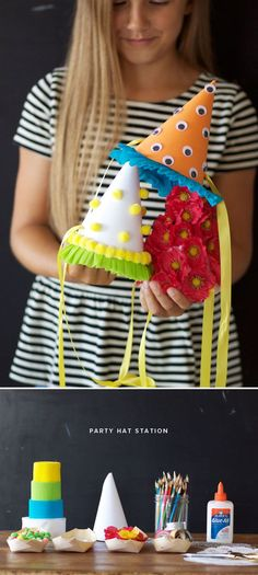 Party Hat Station! I LOVE this idea for a child's birthday party! Personalized and a chance for the imagination to flourish! And the possibilities of decorations you could have out for the hats are endless and you could even incorporate elements from nature! Oh Happy Day! ♥