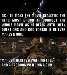 The difference between DC and Marvel. I wonder why Marvel has been more successful.....