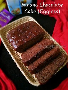 Eggless Banana Chocolate Cake / Easy Chocolate Banana Cake – At My Kitchen Eggless Chocolate Cake, Banana Chocolate Chip Muffins, Dark Chocolate Cakes, Chocolate Lasagna, Chocolate Snacks, Chocolate Chips, Eggless Banana Cake Recipe, Banana Bread, Banana Recipes