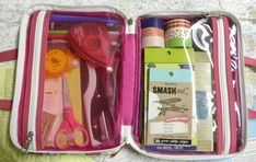 A make up travel case for all smash book things!!! Great for storage, organisation and for easy travel, ect.. When in hospital and bored.
