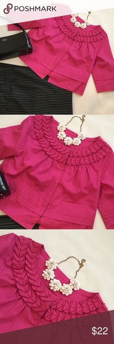 New Directions Pink Jacket/Top This Lined cotton jacket/top is perfect with a pair of slacks for work or a pair of shorts for play. The detailing around the neck is Super Cute! new directions Tops