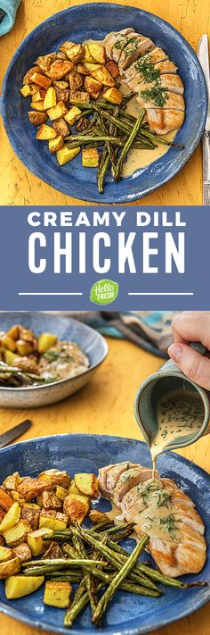 Creamy Dill Chicken with Roasted Potatoes and Green Beans | More easy chicken recipes on hellofresh.com