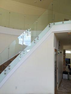 standoff glass railing, no posts, no handrail