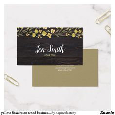 Wood floral pink business card pinterest business cards yellow flowers on wood business card reheart Image collections