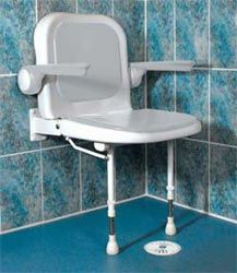 Fold up accessable shower chairs, out of the way when you don't need it.