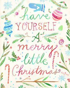 Merry Little Christmas Holiday Print | Watercolor Lettering | Christmas Wall Art | Katie Daisy | 8x10  by thewheatfield on Etsy https://www.etsy.com/listing/253528691/merry-little-christmas-holiday-print