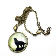 Wolf necklace Wolf necklace 18 inch chain 1 inch pendant Jewelry Necklaces