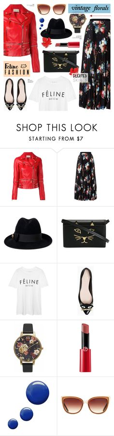 """""""The Cat's Meow: Feline Fashion"""" by anyasdesigns ❤ liked on Polyvore featuring Christopher Kane, Erdem, Gucci, Charlotte Olympia, Kate Spade, Olivia Burton, Giorgio Armani, Topshop, Barton Perreira and vintage"""