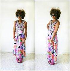 vintage 60s psychedelic HOSTESS MAXI dress by PasseNouveauVintage, $49.25