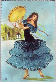 Spanish Flamenco Time to kick up your heels Birthday Girl Spanish Dancer, Spanish Artists, Vintage Postcards, Vintage Images, Illustrations, Illustration Art, Dancing Drawings, Dress Card, Flamenco Dancers