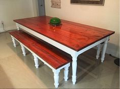 Rustic  Dining Table w/ Shabby Chic Legs // Dining Table // Table // Shabby Chic // Rustic // Home Decor by MAYHEMFURNITURECO on Etsy