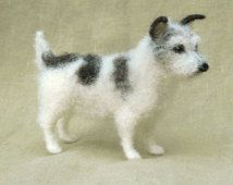 Needle felted Jack Russell Terrier, miniature dog, custom portrait memorial