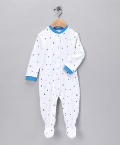 Take a look at this White & Blue Star Organic Footie - Infant  by Nosilla Organics on #zulily today!