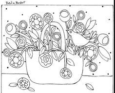 RUG HOOKING PAPER PATTERN Bird In Basket ABSTRACT FOLK ART Karla G