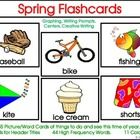 This bright, colorful activity can be used for reading, writing, math, science, and games!This packet includes:45 Spring Picture/Word Flashcards, HF Words, .....see list in my store.