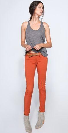 db7e96229f055 i love this combo Orange Skinny Jeans