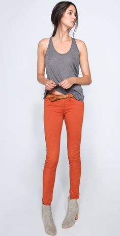 I need these burnt orange jean leggings from Rag & Bone!