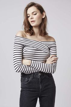 Photo 2 of Striped Bardot Top