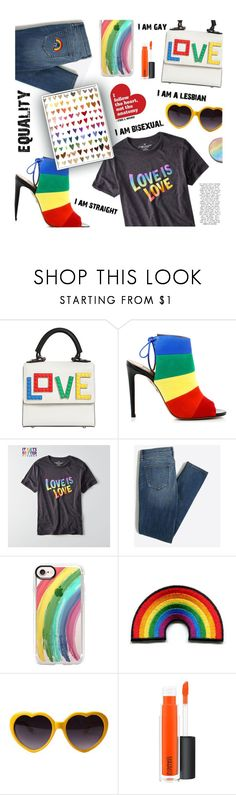 """""""Celebrating Pride Month: Love Is Love, Do We Really Need To Say More?"""" by the-amj ❤ liked on Polyvore featuring Les Petits Joueurs, Aquazzura, American Eagle Outfitters, Casetify and MAC Cosmetics"""