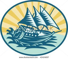 illustration of a galleon historical ship sailing the big waves #galleon #woodcut #illustration