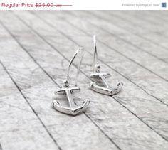 Valentines Day Sale Anchor Earrings Sterling by GirlBurkeStudios, $22.50