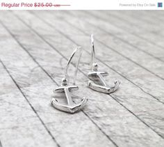 On Sale Anchor Earrings Sterling Silver by GirlBurkeStudios, $22.50