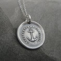 Hope Sustains Me Anchor wax seal necklace from by RQPStudio