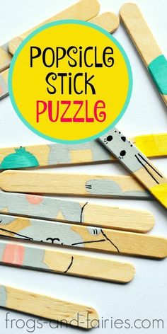EASY DIY Popsicle Stick Puzzle - http://Frogs-and-Fairies.com