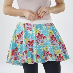 Circle skirts are so easy to make!! And, sergers make them even easier! Check out this circle skirt project with an exposed elastic waistband, made completely with the serger! | Happy National Serger Month from Baby Lock!