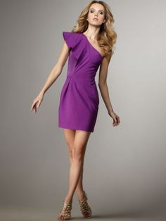 2012 Style Sheath / Column One Shoulder Sleeveless Short / Mini Chiffon Grape Cocktail Dress. Bridesmaid dress that could be worn again $154