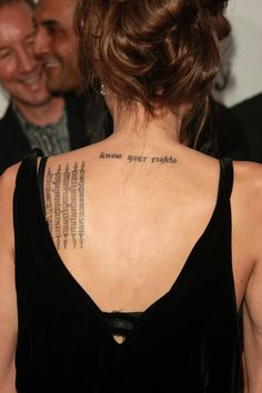 Each of Angelina Jolie tattoos have a special meaning, for example, on his right arm, she has an Arabic inscription and a Gothic letter tattoo between her shoulder blades. Description from onemoredress.blogspot.com. I searched for this on bing.com/images